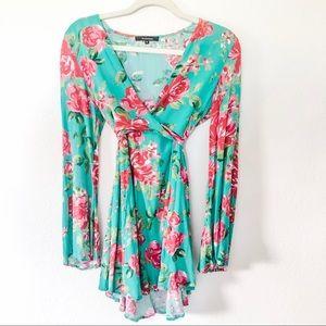 OLIVACEOUS | Floral Mini Wrap Dress